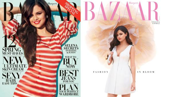 Selena Gomez appears in two versions of the Harpers Bazaar April 2013 cover. - Provided courtesy of Terry Richardson/Harpers Bazaar