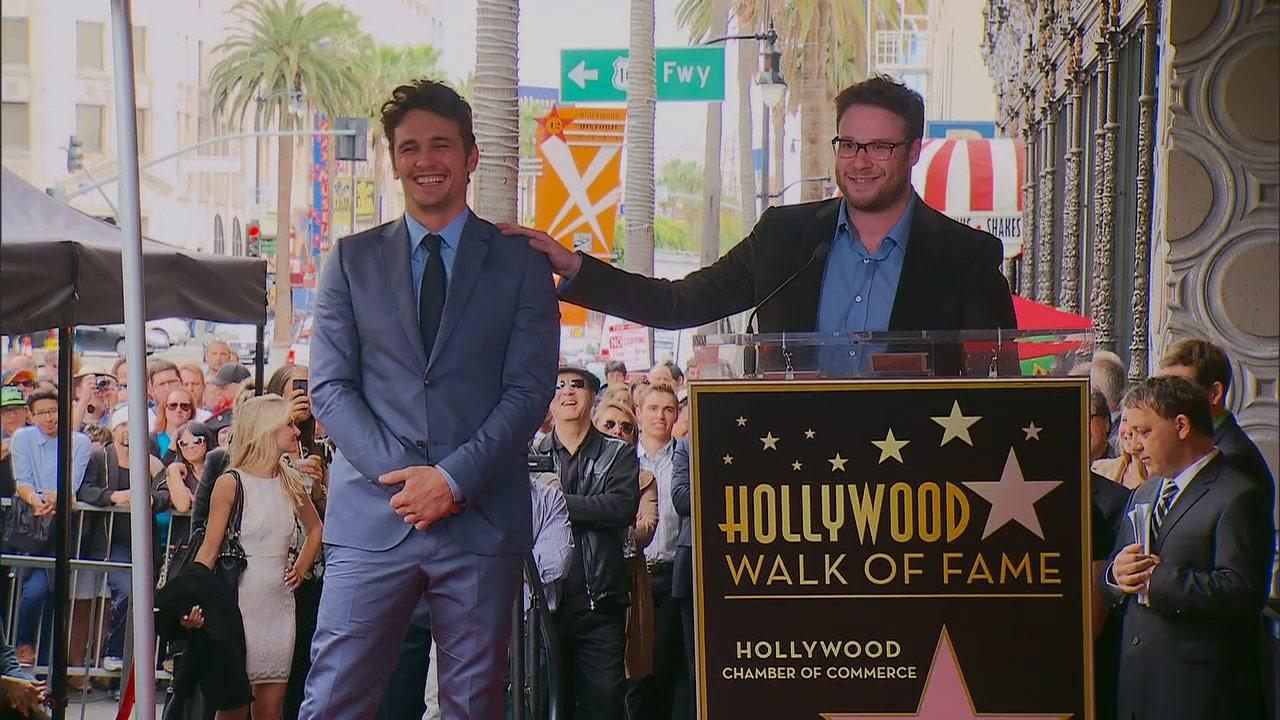 Seth Rogen speaks at James Francos Hollywood star ceremony in Los Angeles on March 7, 2013.