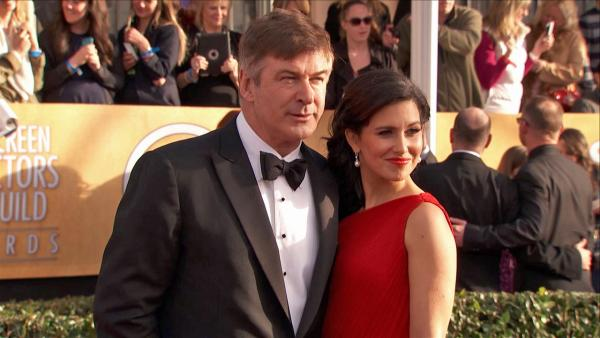 Alec Baldwin and wife Hilaria Thomas pose on the red carpet at the 2013 SAG Awards in Los Angeles on Jan. 27, 2013. - Provided courtesy of OTRC