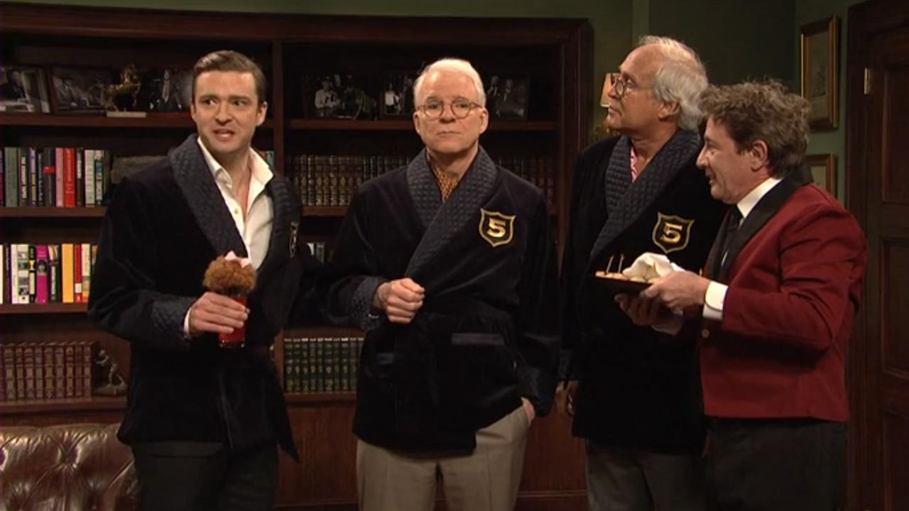 Justin Timberlake appears alongside Martin Short, Chevy Chase and Steve Martin on the March 9, 2013 episode of Saturday Night Live.