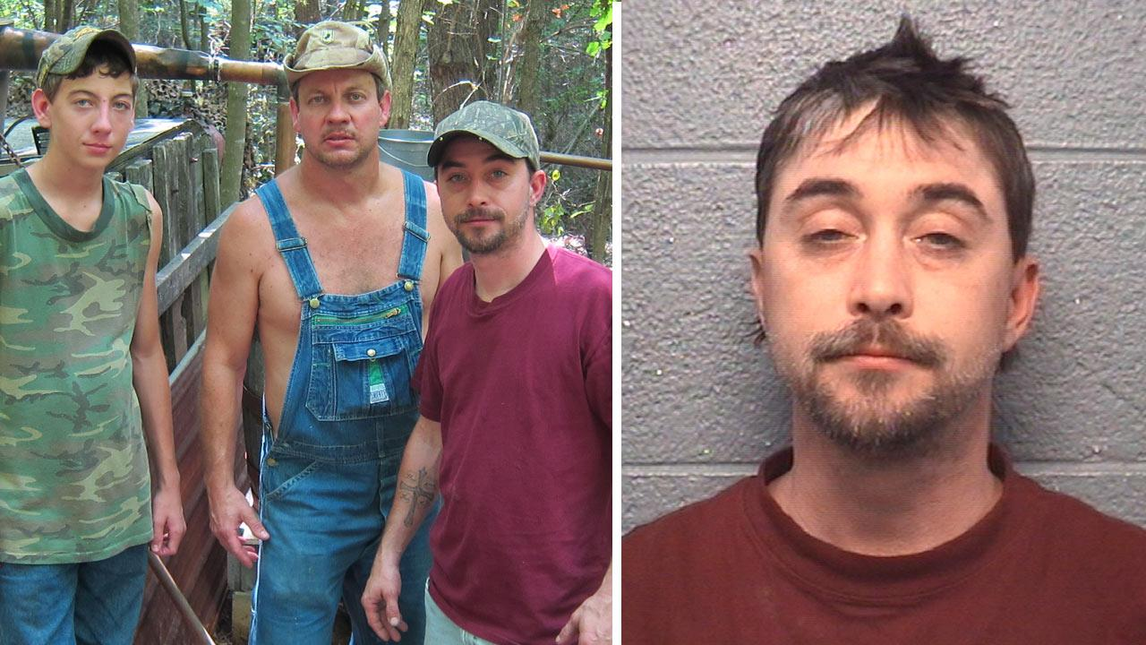 Tim, Steve, JT of the Discovery Chanel show Moonshiners pose at finished still site. /This image provided by the Danville Virginia Police Department, shows the booking photo of Steven Ray Tickle, a star on the TV show Moonshiners.