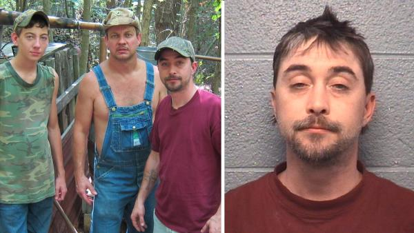Tim, Steve, JT of the Discovery Chanel show Moonshiners pose at finished still site. /This image provided by the Danville Virginia Police Department, shows the booking photo of Steven Ray Tickle, a star on the TV show Moonshiners. - Provided courtesy of Discovery Chanel / Danville, Va. Police