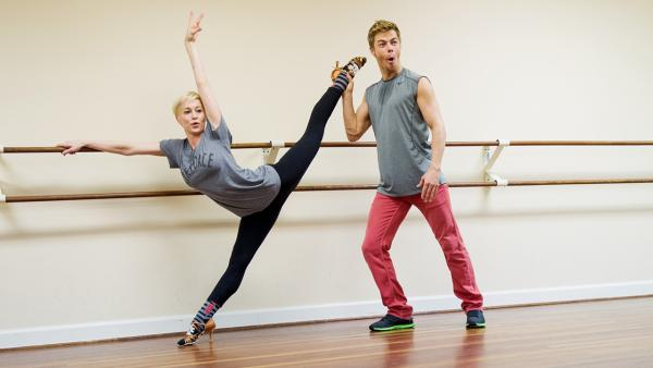 'Dancing With The Stars' season 16 cast members Kellie Pickler and Derek Hough rehearse ahead of the premiere on March 18, 2013.