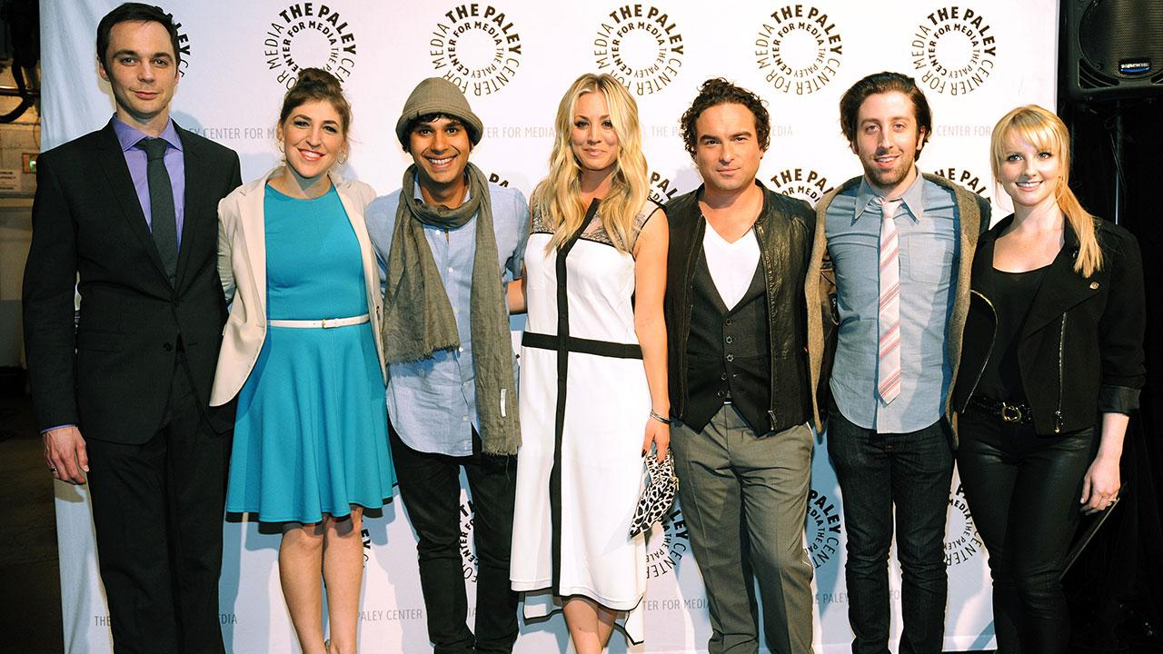 Pictured L to R: Jim Parsons, Mayim Bialik, Kunal Nayyar, Kaley Cuoco, Johnny Galecki, Simon Helberg and Melissa Rauch attend the Paley Center for Medias PaleyFest honoring the CBS show The Big Bang Theory at the Saban Theatre on March 13, 2013.
