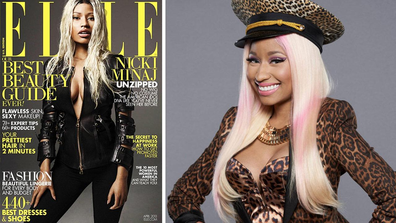 Nicki Minaj appears on the cover of ELLE magazines April 2013 issue. / Nicki Minaj appears in a 2012 promotional photo for American Idol season 12.