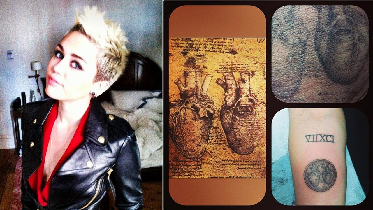 Miley Cyrus appears in a photo from her Twitter page on Feb. 13, 2013. / Miley Cyrus new Leonardo Da Vinci tattoo appears in a photo posted on Kat Von Ds instagram page.