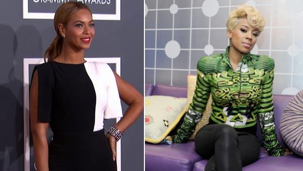 Beyonce wears a black and white Osman Spring 2013 jumpsuit on the 2013 Grammy Awards red carpet on Feb. 10, 2013. / Keyshia Cole appears in a photo from BETs show 106th and Park in November 2012. - Provided courtesy of OTRC / Grammys / BET