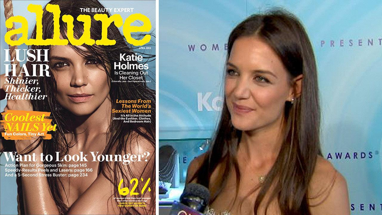 Katie Holmes appears on the cover of Allure magazines April 2013 issue. / Katie Holmes talks to OTRC.com at the 2011 Crystal + Lucy Awards on June 16, 2011.