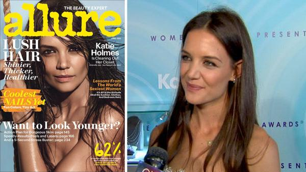 Katie Holmes appears on the cover of Allure magazines April 2013 issue. / Katie Holmes talks to OTRC.com at the 2011 Crystal + Lucy Awards on June 16, 2011. - Provided courtesy of Allure / Conde Nast / OTRC