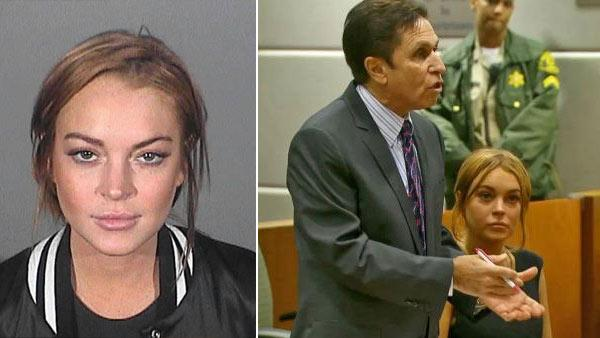 Actress Lindsay Lohan appears in a mug shot from March 19, 2013. / Actress Lindsay Lohan appears in court with her new attorney, Mark Heller, by her side on Wednesday, Jan. 30, 2013. - Provided courtesy of OTRC / Santa Monica Police Department / OTRC
