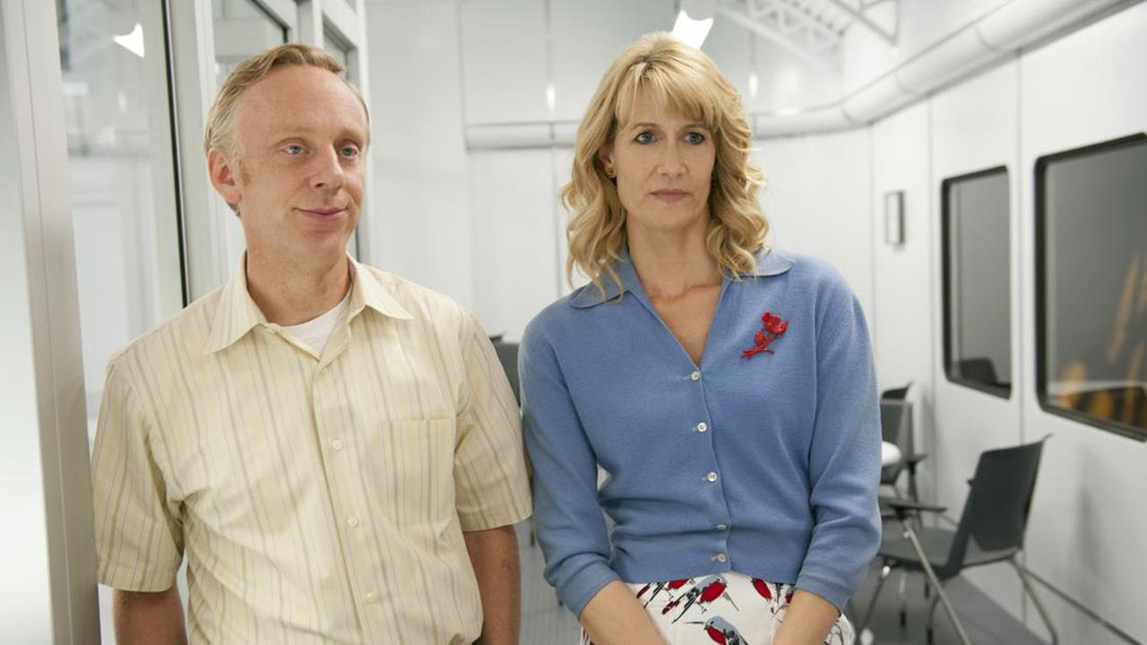 Mike White and Laura Dern appear in a scene from the HBO show Enlightened in 2013.