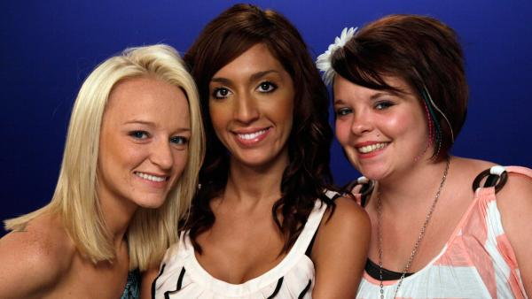Maci Bookout, left, Farrah Abraham, center, and Catelynn Lowell of MTVs Teen Mom, pose for photos in New York on Monday, June 27, 2011. - Provided courtesy of AP Photo/Richard Drew