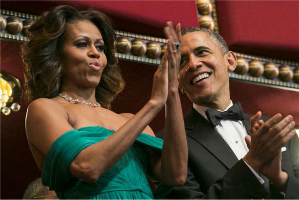 President Barack Obama and wife Michelle attend a ceremony for the 2013 Kennedy Center honorees in Washington D.C. on Dec. 8, 2013. <span class=meta>(Kristoffer Tripplaar &#47; POOL &#47; Startraksphoto.com)</span>
