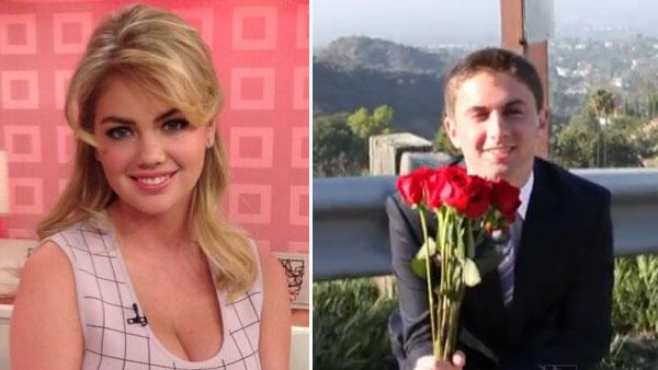 Kate Upton appears in a photo from her official Twitter account on Feb. 12, 2013. / Jake Davidson appears in a still from his 2013 video asking Kate Upton to his prom. - Provided courtesy of twitter.com/kateupton / youtube.com/taliamyers
