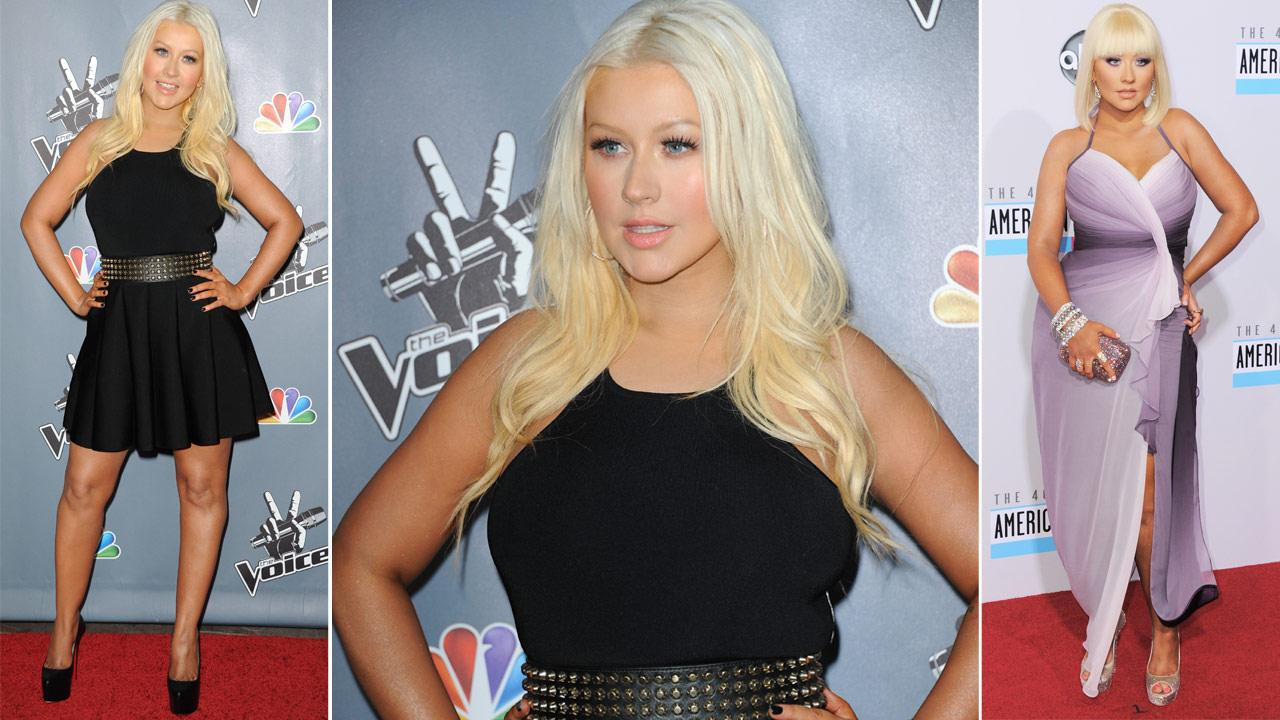 Christina Aguilera arrives at the 4th season premiere screening of The Voice on Wednesday, March 20, 2013 in Los Angeles. / Christina Aguilera arrives at the 40th Anniversary American Music Awards on Sunday, Nov. 18, 2012, in Los Angeles.