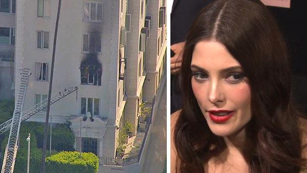 A fire is seen at the window of Ashley Greens condo at a building in West Hollywood on March 22, 2013. / Ashley Greene talks to OTRC.com at the premiere of Twilight: Breaking Dawn - Part 1 in Los Angeles on Nov. 11, 2011. - Provided courtesy of OTRC