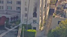A fire broke out at Ashley Greenes apartment building in West Hollywood on Friday, March 22, 2013. - Provided courtesy of OTRC