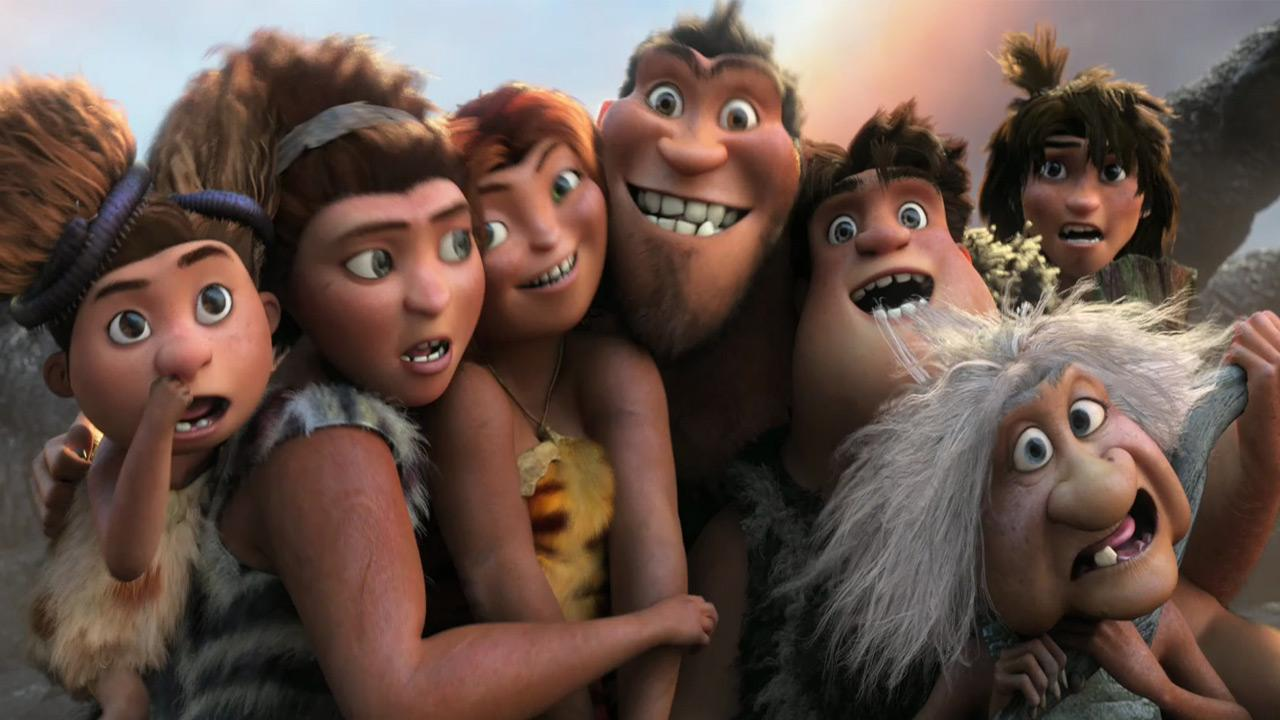 The animated cast appear in a scene from the 2013 film The Croods.