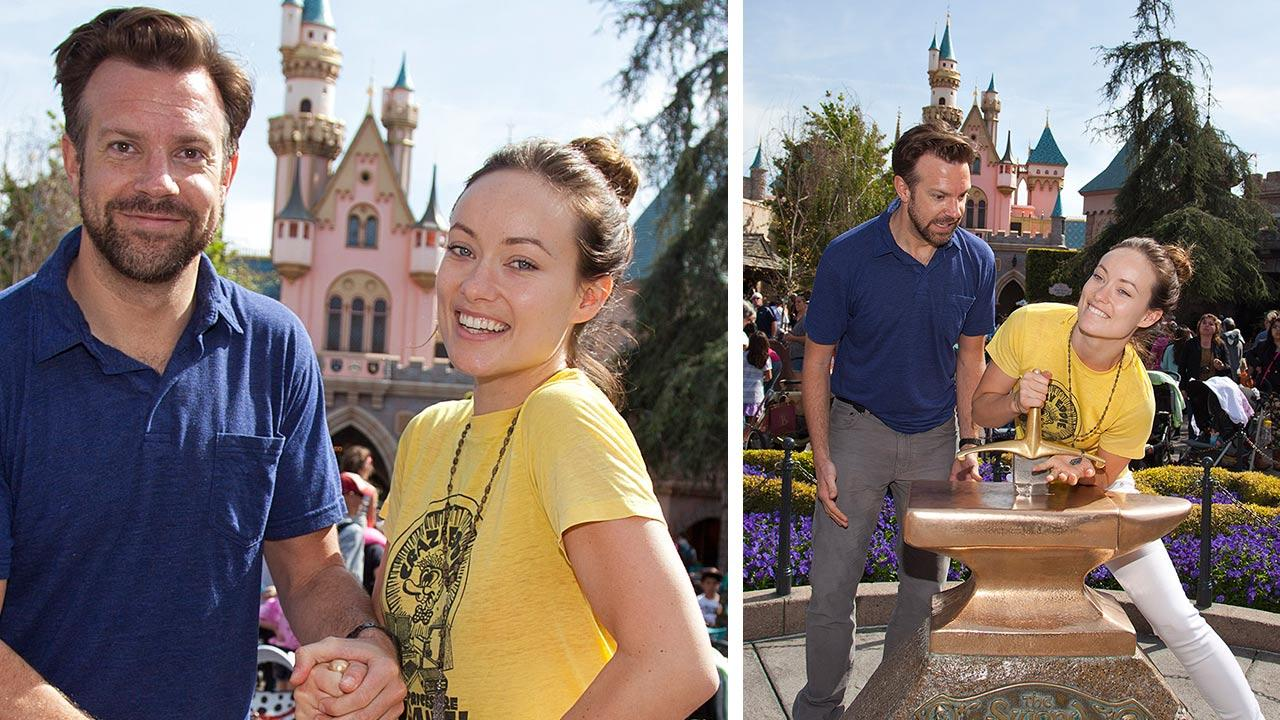 Newly-engaged couple Olivia Wilde and Jason Sudeikis try their luck at removing the Sword in the Stone at Disneyland park in Anaheim, California on Tuesday, March 26, 2013. This was Wildes first visit to a Disney theme park.