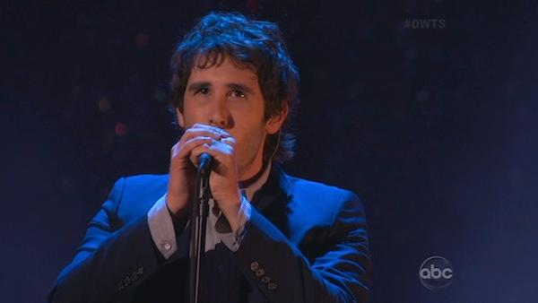 Josh Groban performs on the first results show for Dancing With The Stars season 16, which aired on March 26, 2013.  - Provided courtesy of ABC / Adam Taylor