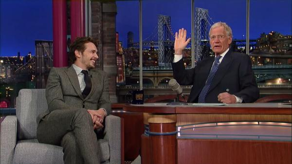 James Franco and David Letterman discuss the banning of Harmony Korine during a taping of the Late Show with David Letterman on March 26, 2013. - Provided courtesy of AP / CBS / Worldwide Pants Incorporated