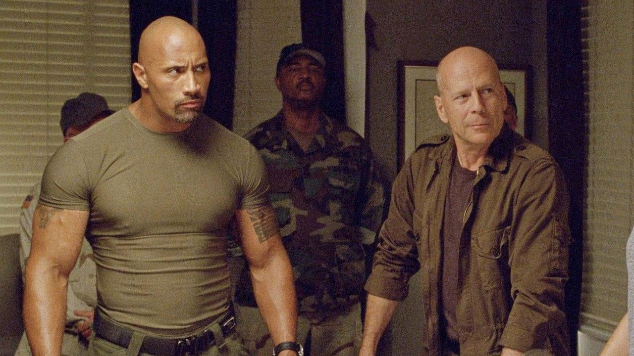 Dwayne The Rock Johnson and Bruce Willis in a scene from the 2013 film G.I. Joe: Retaliation.