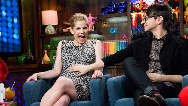 Anna Chlumsky of My Girl and Veep fame appears with Christian Siriano on the Bravo talk show Watch What Happens Live on March 27, 2013. Chlumsky announced that day that she is pregnant with her and husband Shaun Sos first child. - Provided courtesy of Charles Sykes / Bravo