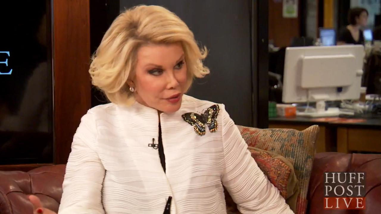 Joan Rivers talks to HuffPost Live during a chat on March 29, 2013.