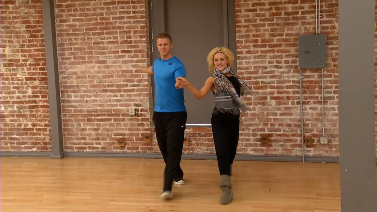 Dancing With The Stars contestant Sean Lowe of The Bachelor and Peta Murgatroyd rehearse for the shows Prom Night episode, airing on April 1, 2013.
