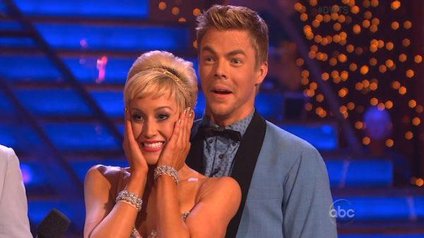 Singer and former American Idol contestant Kellie Pickler and her partner Derek Hough appear in a still from Dancing With The Stars on April 1, 2013. - Provided courtesy of ABC