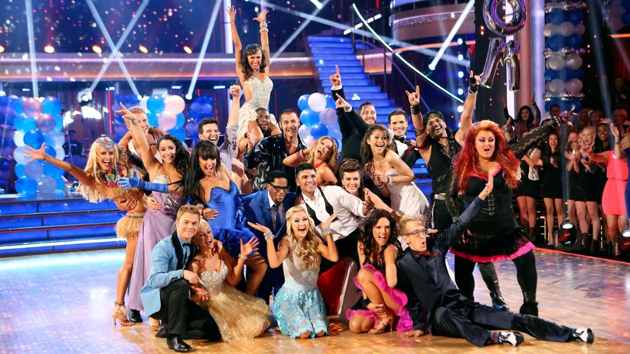 The cast of Dancing With The Stars appear in a photo from the group prom dance on April 1, 2013.