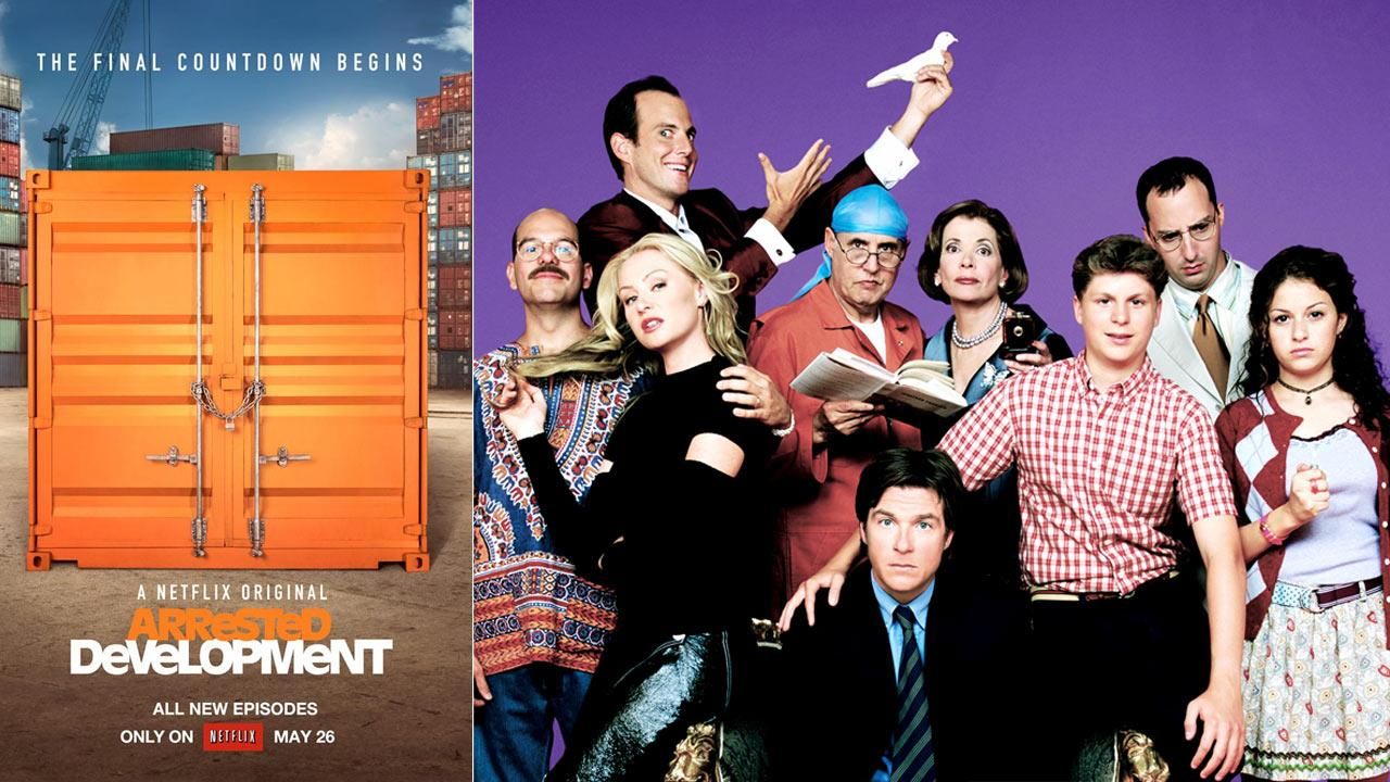 Jason Bateman, Jeffrey Tambor, Portia de Rossi, Jessica Walter and the rest of the cast appear in a promotional photo for Arrested Development. / A photo of the announcement of Arrested Developments return from its official Facebook page.