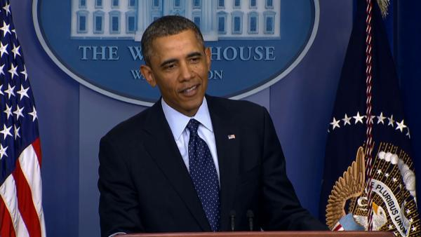 President Barack Obama talks to the press at the White House on Friday, March 1, 2013. - Provided courtesy of KABC