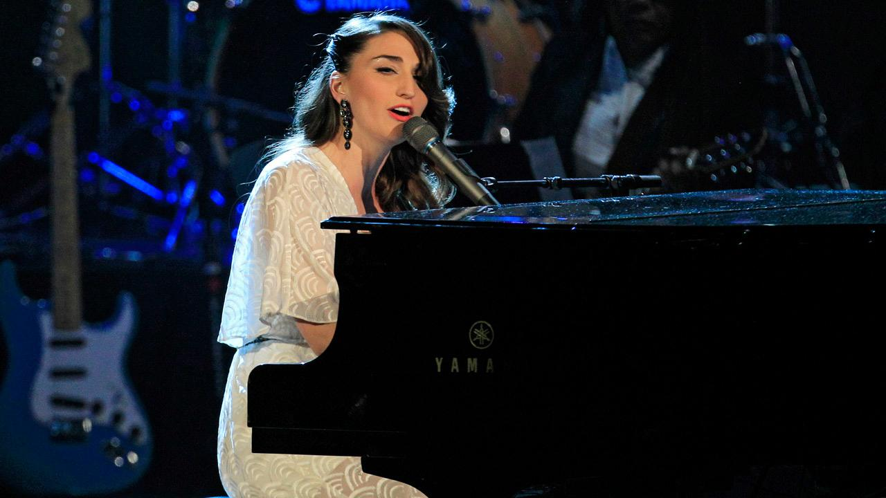 Sara Bareilles performs after the induction of late Laura Nyro into the Rock and Roll Hall of Fame Saturday, April 14, 2012, in Cleveland.