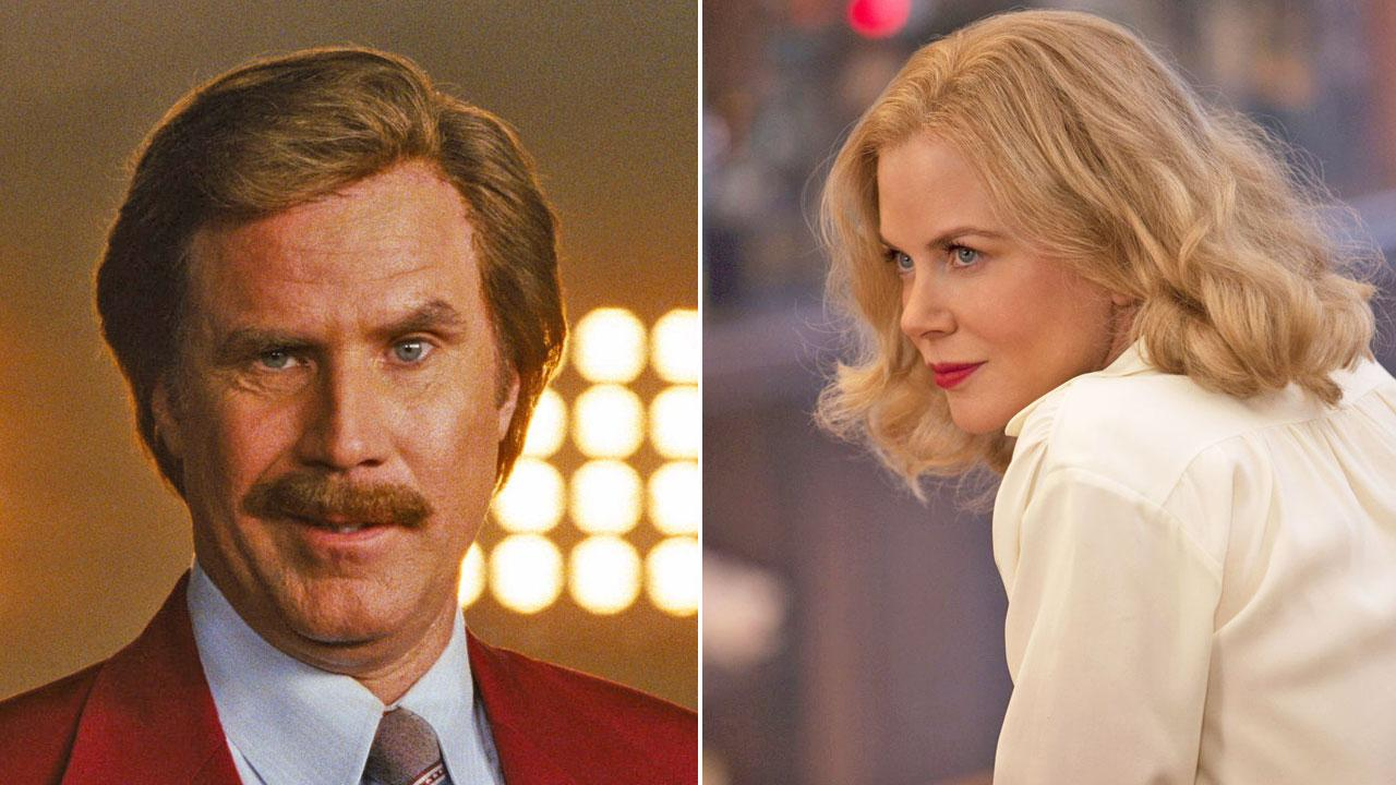 Will Ferrell appears in a still from the 2013 teaser for Anchorman 2. / Nicole Kidman appears in a scene from the 2012 made for TV movie Hemingway & Gellhorn.