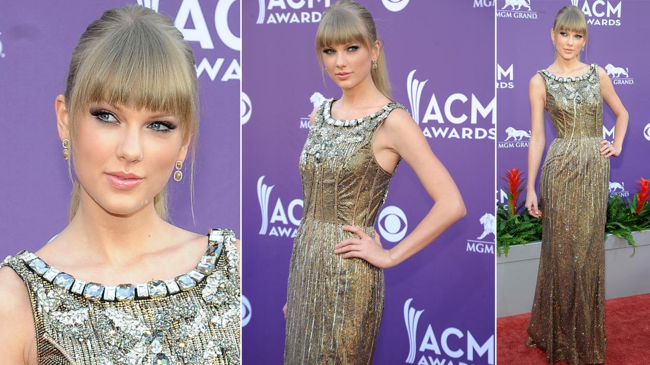 Singer Taylor Swift arrives at the 48th Annual Academy of Country Music Awards at the MGM Grand Garden Arena in Las Vegas on Sunday, April 7, 2013.