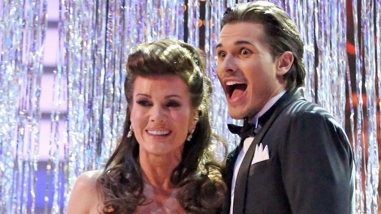Lisa Vanderpump and her dance partner Gleb Savchenko appear on Dancing With The Stars on April 2, 2013.
