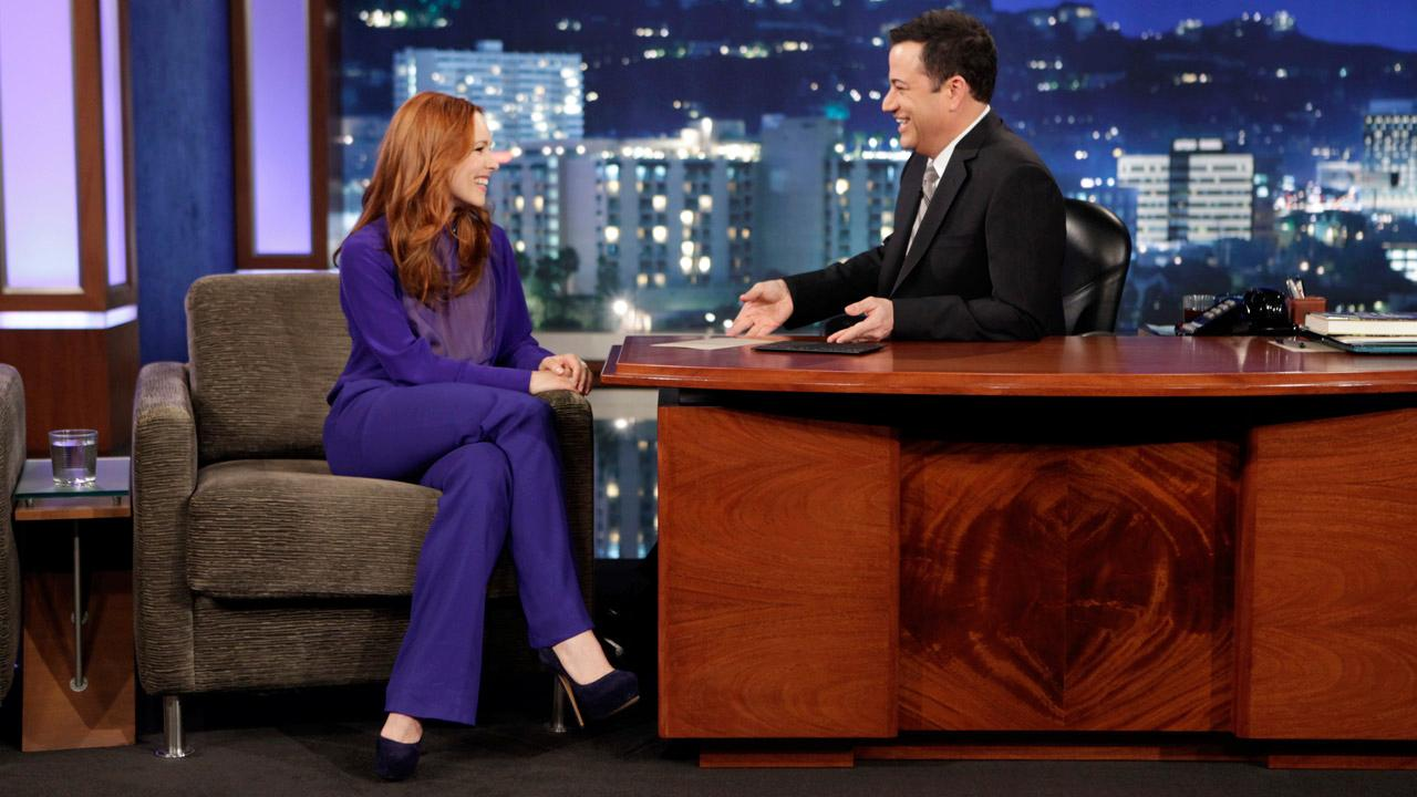 Rachel McAdams appears with Jimmy Kimmel on Jimmy Kimmel Live on April 8, 2013.
