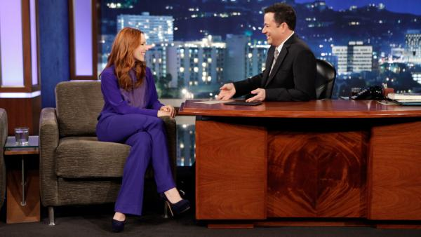 Rachel McAdams appears with Jimmy Kimmel on Jimmy Kimmel Live on April 8, 2013. - Provided courtesy of ABC