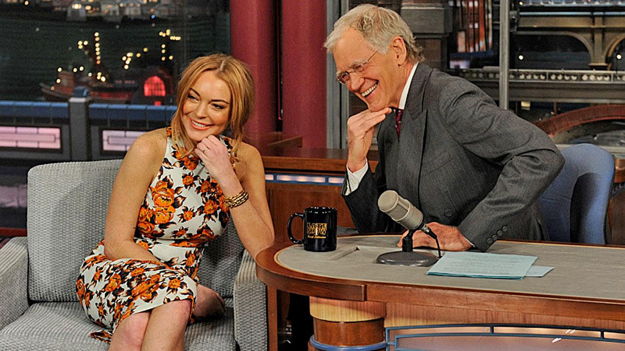 Lindsay Lohan appears on The Late Show with David Letterman on April 9, 2013.