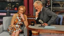 Lindsay Lohan appears on The Late Show with David Letterman on April 9, 2013. - Provided courtesy of CBS