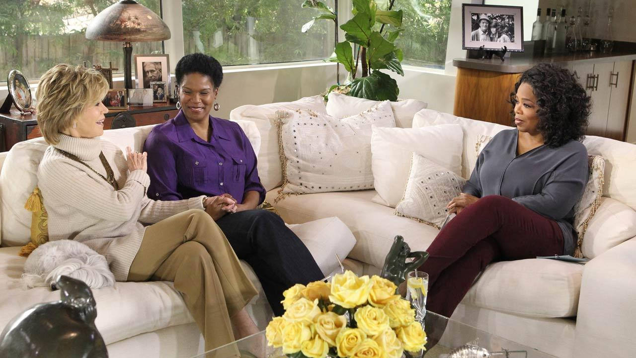 Oprah Winfrey speaks with Jane Fonda and her adopted daughter Mary Williams in Beverly Hills for an episode of Oprahs Next Chapter, which aired on April 7, 2013.