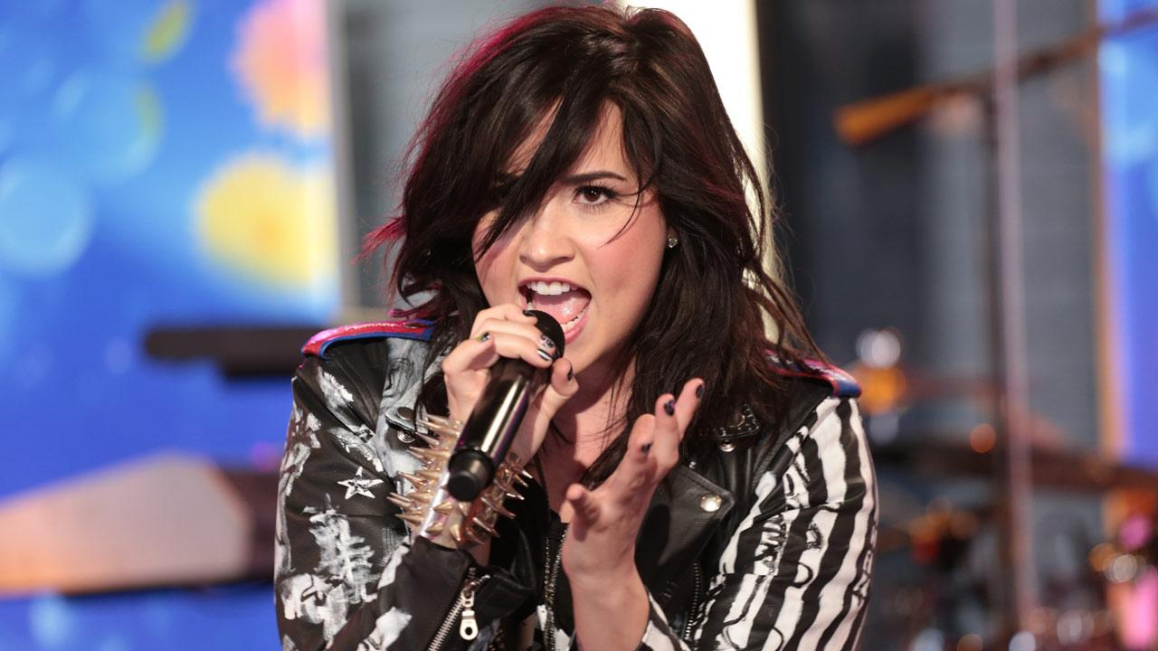 Demi Lovato performs  on Good Morning America, on April 10, 2013.
