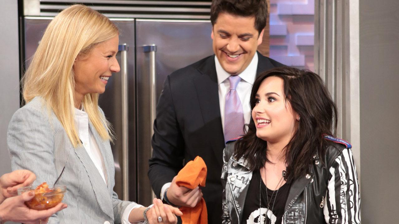 Demi Lovato and Gwyneth Paltrow appear on Good Morning America, on April 10, 2013.