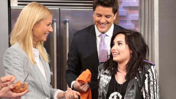 Demi Lovato and Gwyneth Paltrow appear on Good Morning America, on April 10, 2013. - Provided courtesy of ABC / Fred Lee