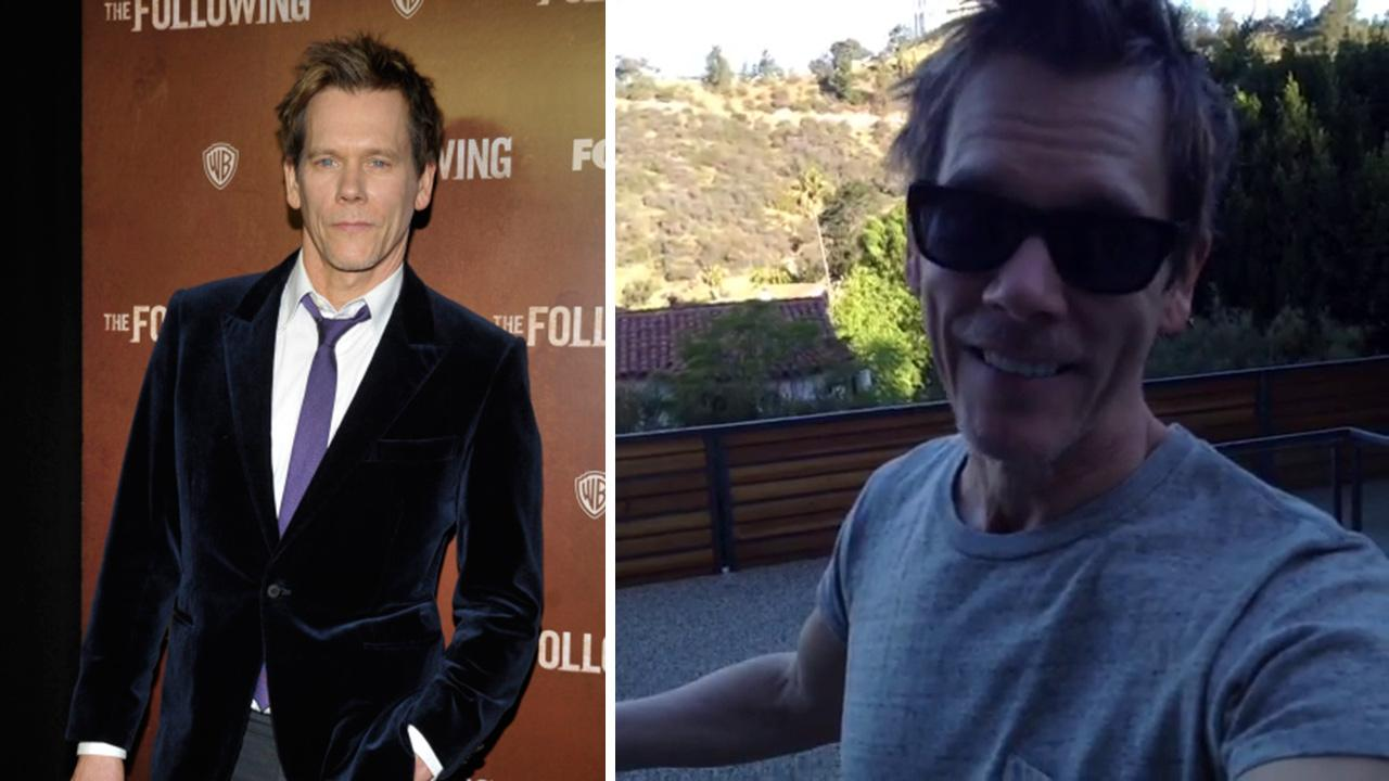 Kevin Bacon appears in a Vine video posted on his Twitter page on April 9, 2013. / Kevin Bacon appears on the gold carpet at the premiere of The Following at the New York Public Library in New York City on Jan. 18, 2013.