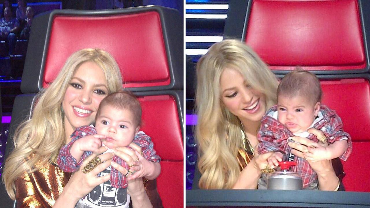 Shakira posted thes photos of herself with son Milan on the set of NBCs The Voice on April 11, 2013. <span class=meta>(twitter.com&#47;shakira &#47; pic.twitter.com&#47;JKk3SZZDDk &#47; pic.twitter.com&#47;m9tW34bTjx)</span>