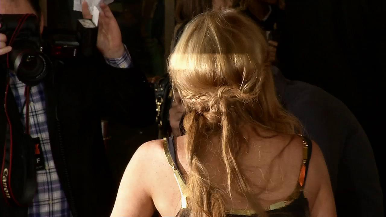 Lindsay Lohan wore a Game of Thrones braided hairstyle at the Scary Movie 5 premiere in Los Angeles on April 11, 2013.