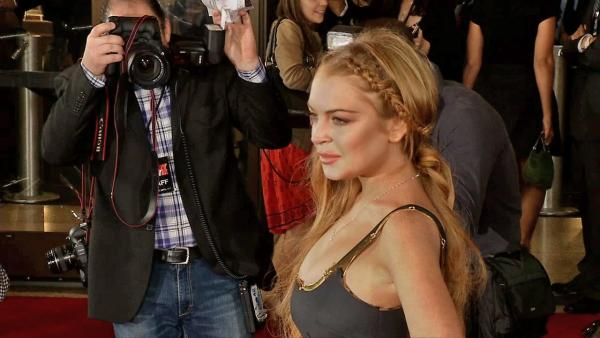 Lindsay Lohan wore a Game of Thrones braided hairstyle at the Scary Movie 5 premiere in Los Angeles on April 11, 2013. - Provided courtesy of OTRC