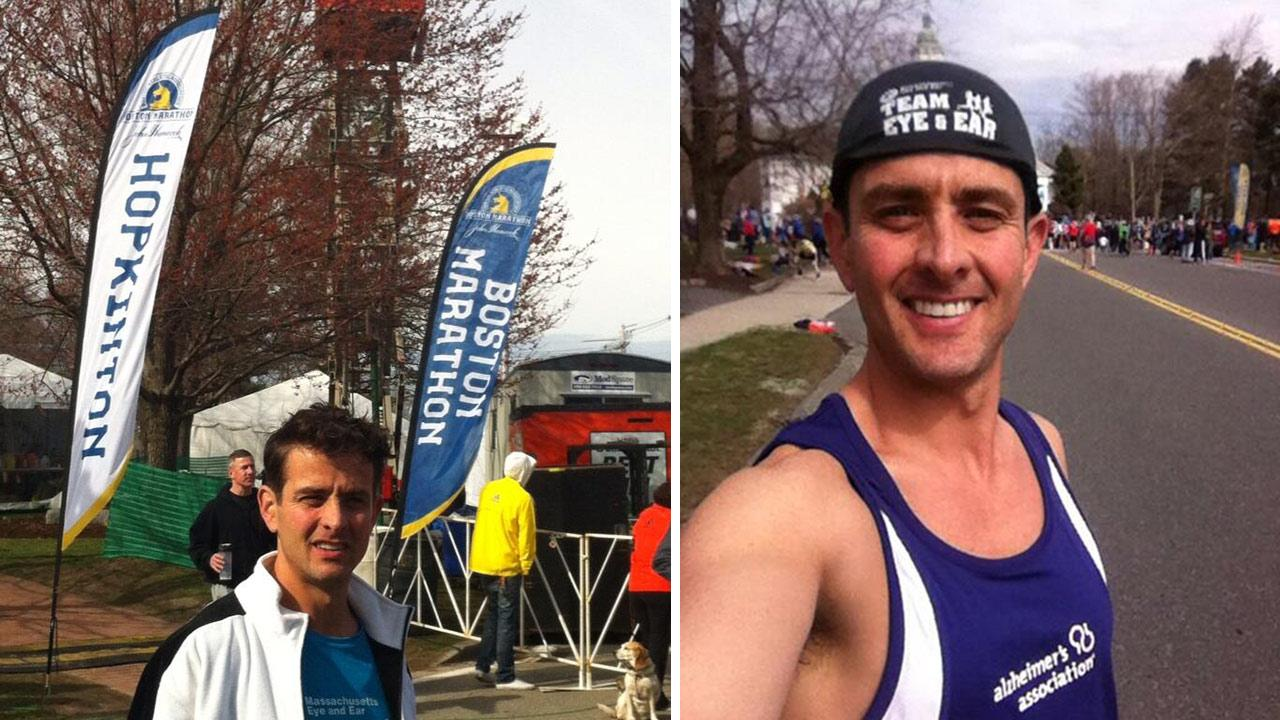 Joey McIntyre posted this photo of himself at the Boston Marathon on Twitter on April 15, 2013, hours before explosions ripped through the finish line. He was unhurt.